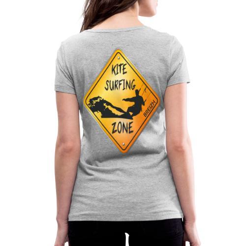 KITESURFING ZONE BREIZH - T-shirt bio col V Stanley & Stella Femme