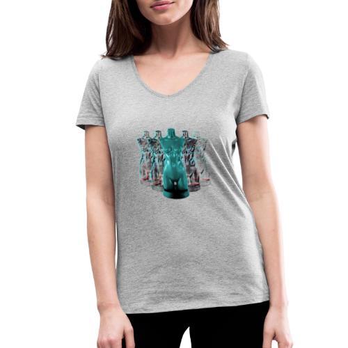 Lady Rosso Corsa and Her Dancers (turquoise) - Økologisk Stanley & Stella T-shirt med V-udskæring til damer