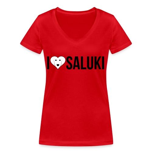 I Love Saluki - T-shirt ecologica da donna con scollo a V di Stanley & Stella