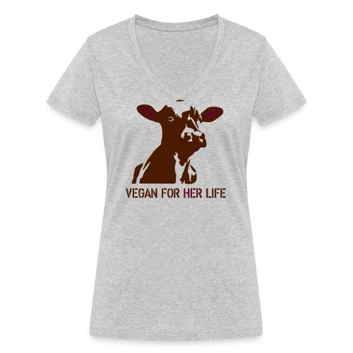 vegan for her life - Frauen Bio-T-Shirt mit V-Ausschnitt von Stanley & Stella