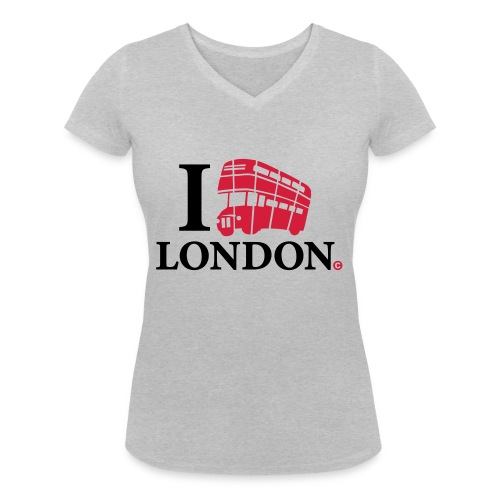 I love (Double-decker bus) London - Women's Organic V-Neck T-Shirt by Stanley & Stella