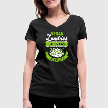 Vegan Zombies eat Grains you are safe! Veggie - Ekologiczna koszulka damska z dekoltem w serek Stanley & Stella