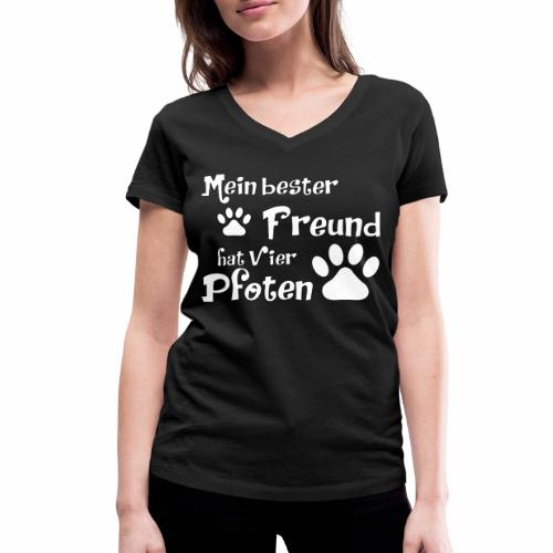 Mein bester Freund hat vier Pfoten - Katze - Frauen Bio-T-Shirt mit V-Ausschnitt von Stanley & Stella