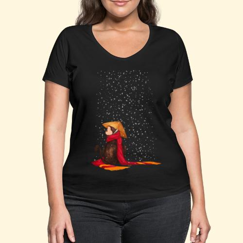 Un singe en hiver sous la neige - T-shirt bio col V Stanley & Stella Femme