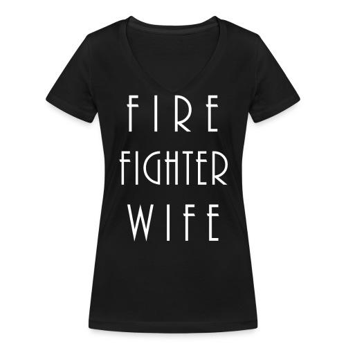 Firefighterwife - Frauen Bio-T-Shirt mit V-Ausschnitt von Stanley & Stella