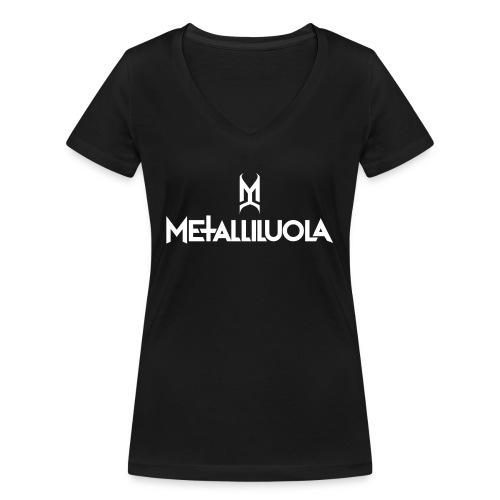 Metalliluola valkoinen logo - Stanley & Stellan naisten v-aukkoinen luomu-T-paita