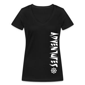 Jebus Adventures Vertical Stripe - Women's Organic V-Neck T-Shirt by Stanley & Stella