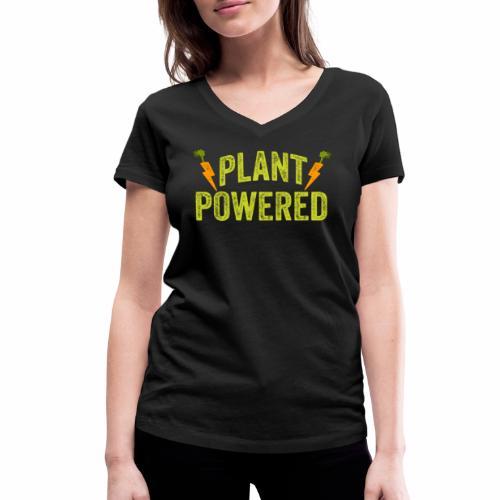 Plant Powered T-Shirt Veganer T-Shirt Geschenk - Frauen Bio-T-Shirt mit V-Ausschnitt von Stanley & Stella