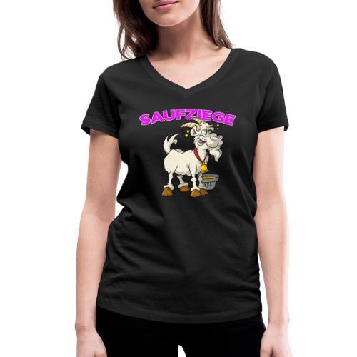 Saufziege auf Partytour - Frauen Bio-T-Shirt mit V-Ausschnitt von Stanley & Stella