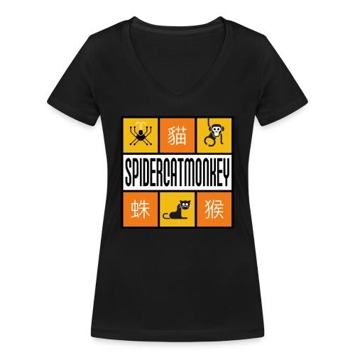 Band-Logo SPIDERCATMONKEY, orange - Frauen Bio-T-Shirt mit V-Ausschnitt von Stanley & Stella