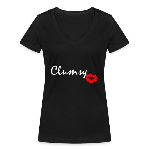 clumsy white - Frauen Bio-T-Shirt mit V-Ausschnitt von Stanley & Stella