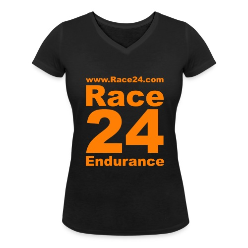 Race24 Logo in Orange - Women's Organic V-Neck T-Shirt by Stanley & Stella