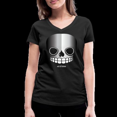 JUST SKULL bw - Stanley & Stellan naisten v-aukkoinen luomu-T-paita