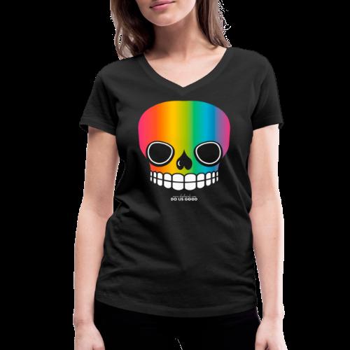 JUST SKULL rainbow - Stanley & Stellan naisten v-aukkoinen luomu-T-paita