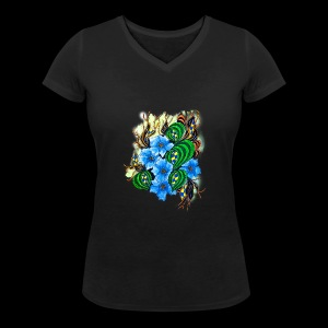 abstract flowers - Women's Organic V-Neck T-Shirt by Stanley & Stella