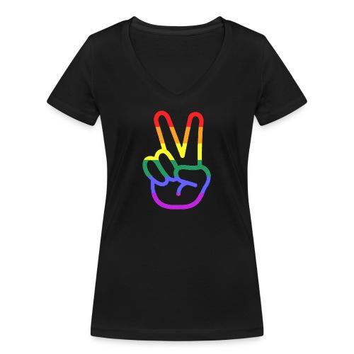 Peace Hand - Frauen Bio-T-Shirt mit V-Ausschnitt von Stanley & Stella