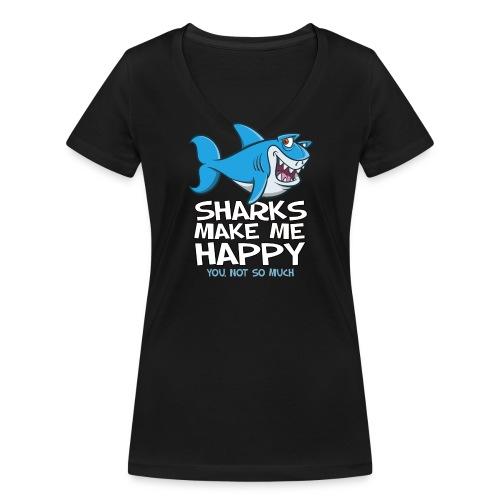 Sharks make me happy - Haifisch - Frauen Bio-T-Shirt mit V-Ausschnitt von Stanley & Stella