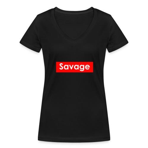 Savage / Supreme tshirt - Vrouwen bio T-shirt met V-hals van Stanley & Stella