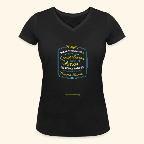 VIAJA - Camiseta ecológica mujer con cuello de pico de Stanley & Stella