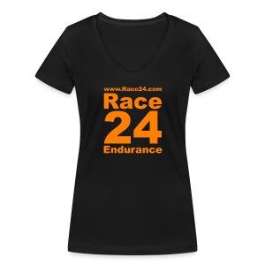Race24 Logo in Orange - Women's Organic V-Neck T-Shirt by Stanley & Stella