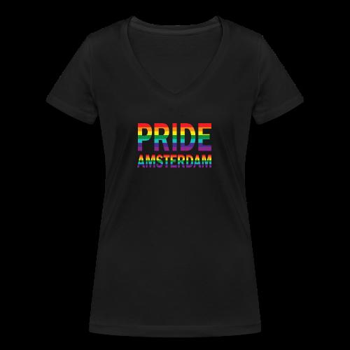 Pride Amsterdam in regenboog kleuren - Vrouwen bio T-shirt met V-hals van Stanley & Stella