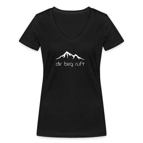 Der Berg ruft weiß - Frauen Bio-T-Shirt mit V-Ausschnitt von Stanley & Stella