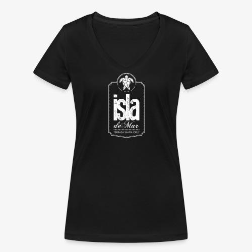 Logotipo White Isla de Mar - Camiseta ecológica mujer con cuello de pico de Stanley & Stella