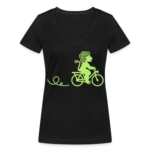 Züri-Leu beim Velofahren ohne Text - Frauen Bio-T-Shirt mit V-Ausschnitt von Stanley & Stella