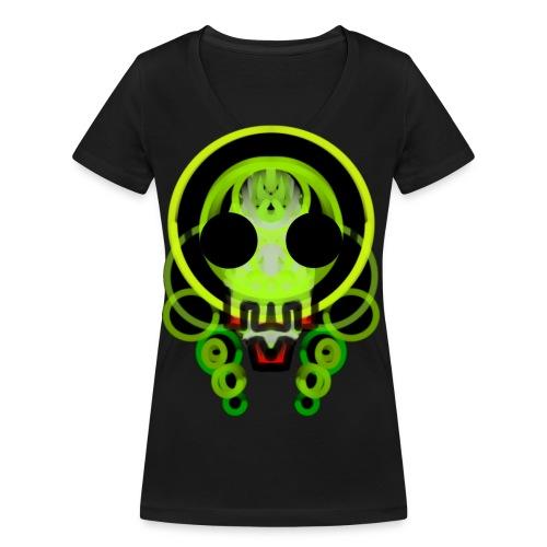 dead skull of loops of green light - Women's Organic V-Neck T-Shirt by Stanley & Stella