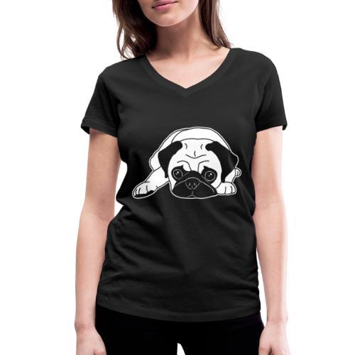 Mops, Hund, Hunderasse, Geschenkidee, süß, Comic - Frauen Bio-T-Shirt mit V-Ausschnitt von Stanley & Stella