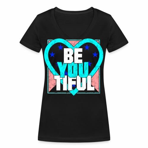 BeYouTiful Beautiful Herz verzerrt Geschenkideen - Frauen Bio-T-Shirt mit V-Ausschnitt von Stanley & Stella