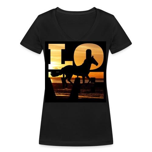 Mit dem Pferd in den Sonnenuntergang reiten - Frauen Bio-T-Shirt mit V-Ausschnitt von Stanley & Stella