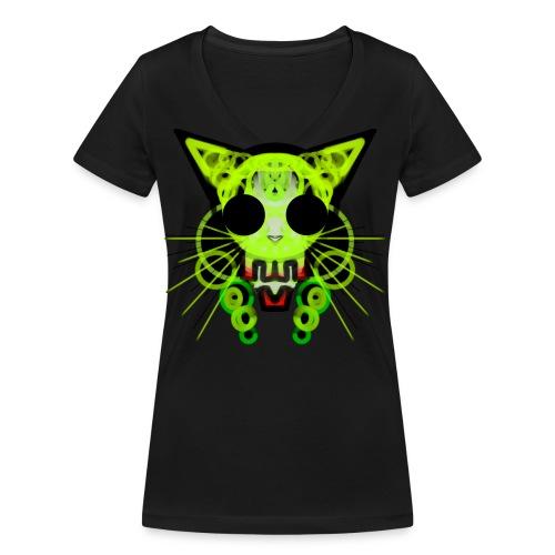 cat skeleton skull light green in deep black - Women's Organic V-Neck T-Shirt by Stanley & Stella