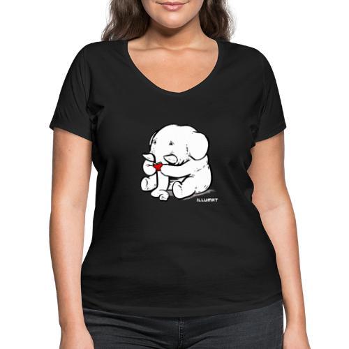 Stef 0002 00 Lesefant - Frauen Bio-T-Shirt mit V-Ausschnitt von Stanley & Stella