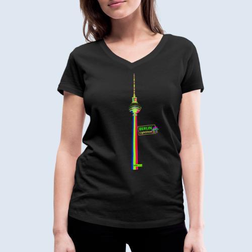 """Berliner Original """"Fernsehturm"""" PopArt Design - Frauen Bio-T-Shirt mit V-Ausschnitt von Stanley & Stella"""