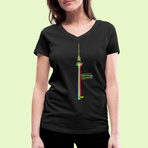 Fernsehturm PopArt BerlinLightShow - Frauen Bio-T-Shirt mit V-Ausschnitt von Stanley & Stella