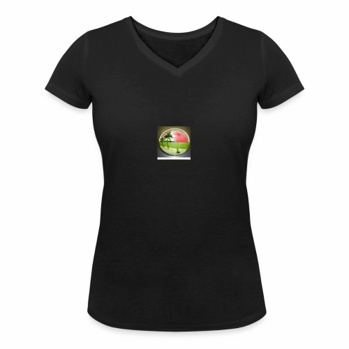 melon view - Women's Organic V-Neck T-Shirt by Stanley & Stella
