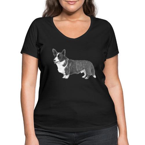 welsh Corgi Cardigan - Økologisk Stanley & Stella T-shirt med V-udskæring til damer