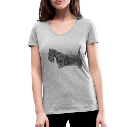 skotsk terrier ub - Økologisk Stanley & Stella T-shirt med V-udskæring til damer