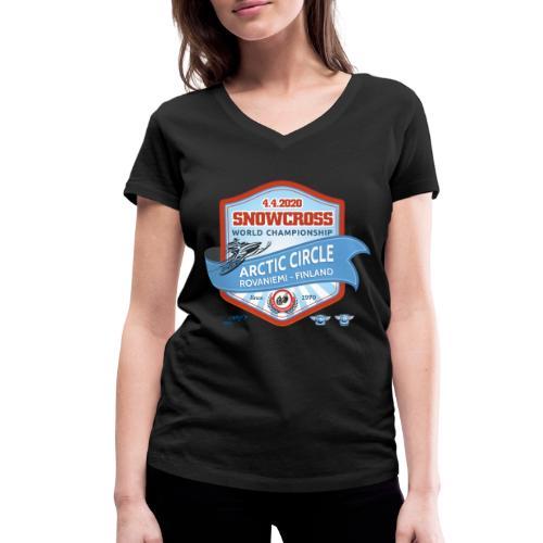 MM Snowcross 2020 virallinen fanituote - Stanley & Stellan naisten v-aukkoinen luomu-T-paita