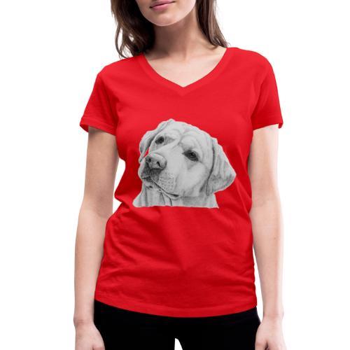 labrador retriever yellow - head - Økologisk Stanley & Stella T-shirt med V-udskæring til damer