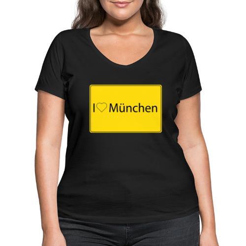 I love München - Frauen Bio-T-Shirt mit V-Ausschnitt von Stanley & Stella