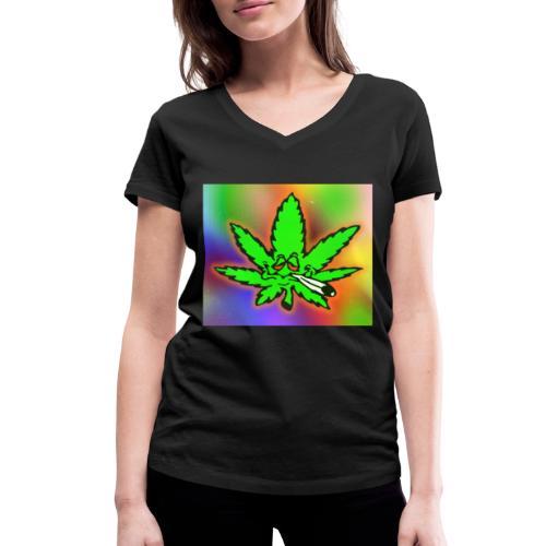 best weed - Stanley & Stellan naisten v-aukkoinen luomu-T-paita