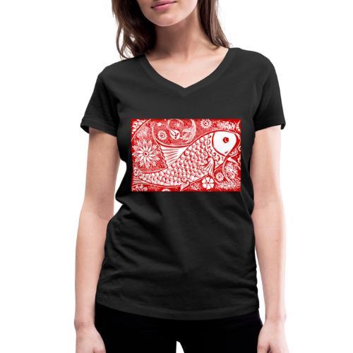 Fish in the sea - Vrouwen bio T-shirt met V-hals van Stanley & Stella