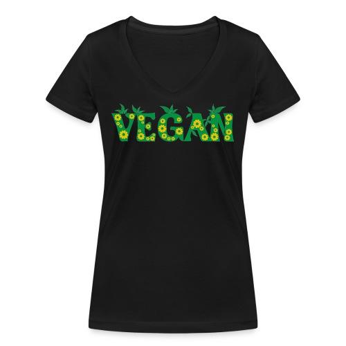 Vegan - Blumen - Frauen Bio-T-Shirt mit V-Ausschnitt von Stanley & Stella