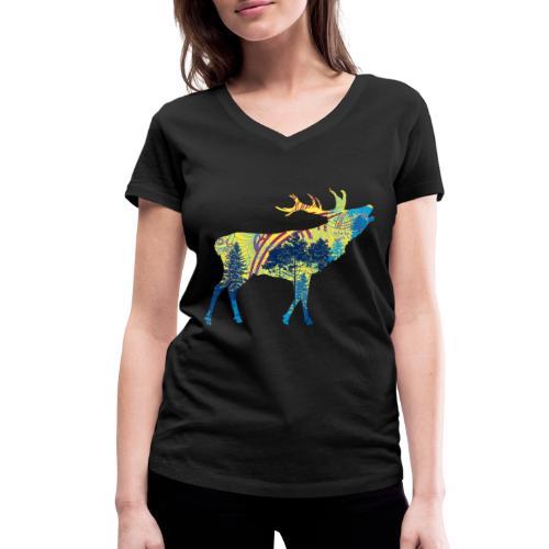 Cerf dans la forêt - T-shirt bio col V Stanley & Stella Femme