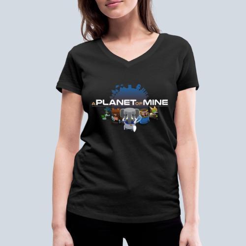 logo planetofmine dark HD - T-shirt bio col V Stanley & Stella Femme