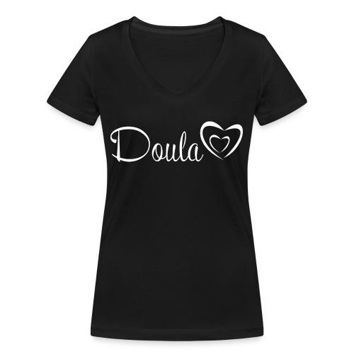doula sydämet valkoinen - Stanley & Stellan naisten v-aukkoinen luomu-T-paita