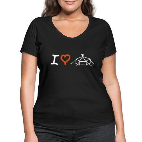 I love Jurte - Frauen Bio-T-Shirt mit V-Ausschnitt von Stanley & Stella