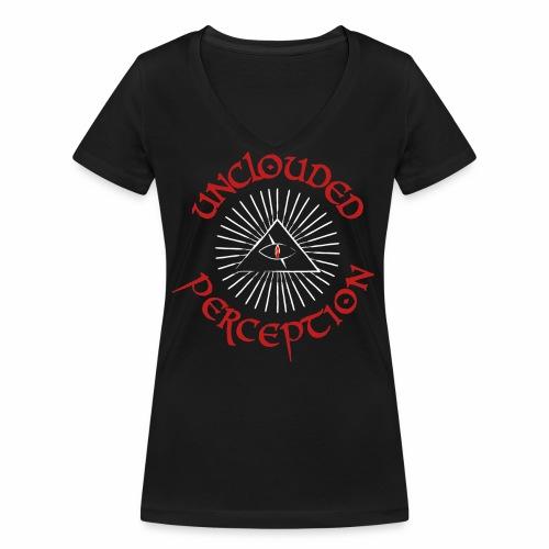 Logo red font white rest - Frauen Bio-T-Shirt mit V-Ausschnitt von Stanley & Stella